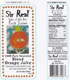 Sir Real Blood Orange Juice label (Quart)