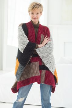 Looking for a geometric knit? Make the Palermo Poncho with 12 balls of Wool-Ease® Thick & Quick® for a shapely coverup!