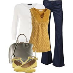 Flats in a darker, mustard shade you match the top, cuffed skinny jeans for the weekend