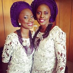 White Guipure Lace with Purple Aso-Oke Gele and purple jewelry. Nigerian wedding guests. Aso-ebi styles.
