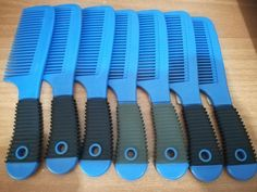 New Blue High quality Comb, Thick plastic, Thick grip. Curly Hair Care, Curly Hair Styles, Teeth, Plastic, Hairstyle, Nails, Blue, Ebay, Hair Job