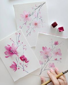 art acuarela Are you guys tired of all the Cherry blossoms in your feed Because I got you the very last set of the season! Watercolor Landscape, Abstract Watercolor, Watercolour Painting, Painting & Drawing, Watercolors, Watercolor Paintings For Beginners, Watercolour Tutorials, Painting Techniques, Watercolor Cards