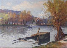 """Narcisse Guilbert,  """"Bassin aux pétroles, vieille péniche coulée"""""""