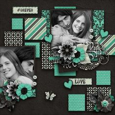 Scrapbook Layout ~ 2 Photo black and white