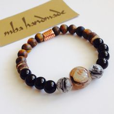 MEN'S GEMSTONE RARE AGATE RUTILATED QUARTZ ONYX MATTE TIGERS EYE BEADED BRACELET #MBAHandmade #Beaded