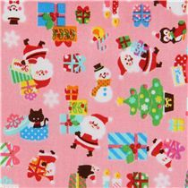 pink Santa Claus present candle Cosmo Christmas fabric