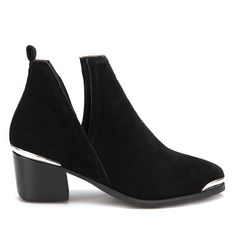 Yoins Black Cut Out Block Heel Ankle Boots ($58) ❤ liked on Polyvore featuring shoes, boots, ankle booties, black, black ankle bootie, bootie boots, short boots, ankle boots and cut out booties