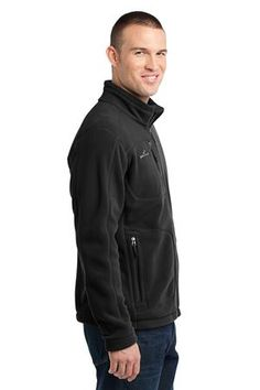 Eddie Bauer - Wind Resistant Full-Zip Fleece Jacket Style EB230 Black Side
