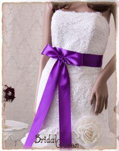 CADBURY PURPLE  Satin Bridal Sash Wedding Sash by BridalQueen Wedding Sash, Bridal Sash, Wedding Gowns, Cadbury Purple Wedding, Purple Satin, Ribbon Colors, Formal Dresses, Gift Wrap, Yards