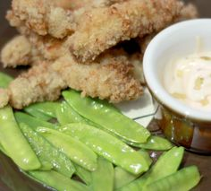 Breaded Pork Strips with Buttered Snow Peas