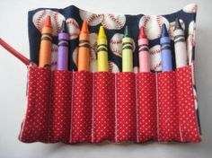 All American Baseball Crayon Roll Holds 8 by adorableblessings, $5.00