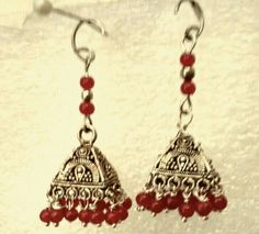 Square Jhumkis with red  ghungru beads