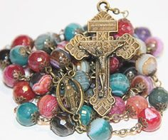 Large Mulicolor Agate and Bronze 5 Decade Natural Stone Bead Rosary Rosary Prayer, Holy Rosary, Prayer Beads, Rosary Necklace, Rosary Beads, Bead Caps, Crucifix, Stone Beads, Agate