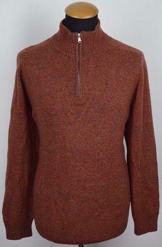 55a9aecd25 Mens Hugo Boss Virgin Wool Silk Sweater Size XL 42-44 Red Warm Zip Neck