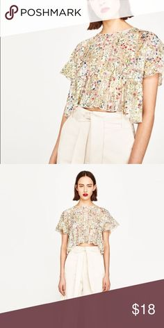 Zara Colorful Floral Crop Top EUC! Can fit s-m, oversized Crop with floral and stripe motif with Ruffle at the bottom, no stains or tears Zara Tops