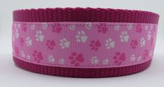 Pink Paws 1.5 adjustable dog collar ribbon by WagSwagPetSupplies