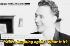 (video) Tom Hiddleston Laughing At A Video Of Himself Laughing Is The Best Thing   >> THE GREATEST TOM PIN! - I've always wanted this to happen!! (p.s I love it because its so awkward - he generally does not know how to act)