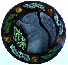 Stained glass designed and created by Sarah Roberts Stained Glass Art #squirrel #acorns #leaves #stainedglassart