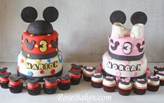 Mickey and Minnie Mouse Birthday Cakes and Cupcakes for TWINS!! Click over for more pics and details!!
