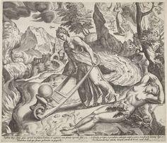 Dirck Volckertsz Coornhert | Verkeerde Overtuiging leidt de wereld naar de hel, Dirck Volckertsz Coornhert, Hendrick Hondius (I), 1575 - 1581 | Verkeerde overtuiging brengt met een kruiwagen de Dwaze Wereld (een omgekeerde wereldbol) naar de afgrond van de hel. De Waarheid (Veritas) kan niet ingrijpen. Zij ligt geketend aan handen en voeten op de grond. Rechtvaardigheid (Justitia) staat in de achtergrond. Ze heeft haar attributen afgeworpen (zwaard en weegschaal) en kijkt hulpeloos toe hoe…