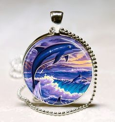 Blue Dolphin Glass PendantHCLTreasures - Jewelry on ArtFire, $10.00