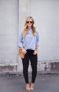striped top and black jeans outfit inspiration from thesouthernstyleguide.com