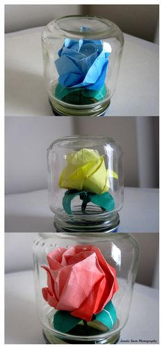 Origami Roses in Mini Jars by ~sweetcivic