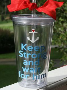 Keep Strong Navy Tumbler - this reminds me of you McManus Proud Navy Girlfriend, Navy Sister, Air Force Girlfriend, Navy Mom, Coast Guard Wife, Keep Strong, Love My Man, Navy Life, Navy Anchor