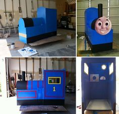 I built a Thomas the Train out of cardboard boxes. Painting it and giving it a face.