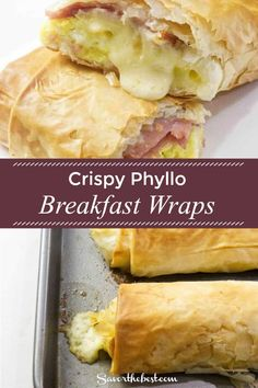 These crispy breakfast burrito wraps are made with a flaky phyllo dough and stuffed with ham, eggs, and cheese. Delicious Breakfast Recipes, Brunch Recipes, Dinner Recipes, Dinner Ideas, Wrap Recipes, Vegan Recipes Easy, Cooking Recipes, Breakfast Wraps, Breakfast Burritos