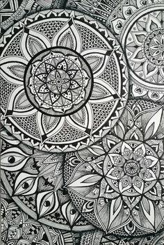 My Hand Drawn Mandalas. Black Staedler Fineliners on Board. ~~By DebsR