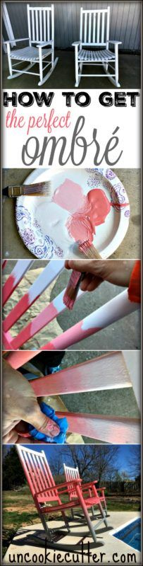 Ombré Rocking Chairs and How to Create the Perfect Ombré Effect Furniture Makeover, Diy Furniture, Furniture Refinishing, Before And After Diy, Diy Crafts For Adults, Diy Chair, Chair Redo, Cool Diy Projects, Diy Home Improvement
