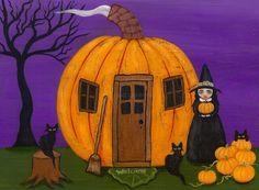 The Pumpkin House Original Halloween Cat Folk by KilkennycatArt (Ryan Conners)