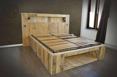 Pallet Bed with Lights and Storage Shelf - Amazing Pallet Furniture Projects for Home Bed Lights, Bed Furniture, Furniture Diy, Furniture, Pallet Projects Furniture, Pallet Furniture Bedroom, Pallet Bed With Lights, Bed Frame And Headboard, Home Decor