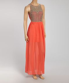 Another great find on #zulily! Coral Crochet Sweetheart Maxi Dress by Lovposh #zulilyfinds $32.99, regular 70.00