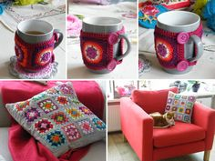funda para taza y almohadones Crochet World, Coffee Time, Craft Projects, Mugs, Pillows, Tableware, Crafts, Vases, Pillow Shams