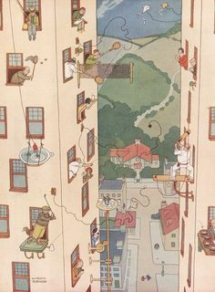 Old cartoon print of the difficult problem of how to enjoy games and field sports when you live in a block of flats has triumphantly solved. By William Heath Robinson, from the Sketch, May People Illustration, Children's Book Illustration, Botanical Illustration, Art Nouveau, Heath Robinson, Cartoon Background, Magazine Illustration, Old Cartoons, Humor Grafico