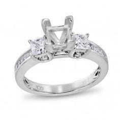 Vow to Wow, 14K White Gold I1 Princess Diamond Semi Mounting Ring, 3/4 ctw