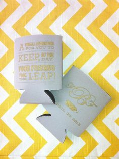 wedding favors: Personalized wedding koozie with personalized message