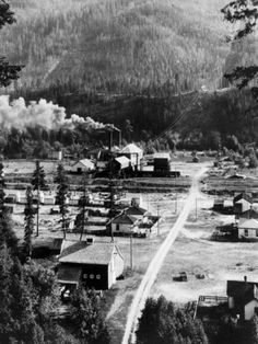 Tramline coming down the mountain leading to the tipple in Upper Town at Coalmont, B.C.