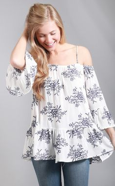 summer in santorini embroidered blouse