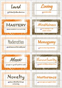 100 Values Cards (P-S) inspired from Motivational Interviewing. Print out on Avery business cards and use with clients to help them define and prioritize their values. Counseling Activities, School Counseling, Therapy Activities, Coping Skills, Social Skills, Therapy Tools, Therapy Ideas, Play Therapy, Art Therapy