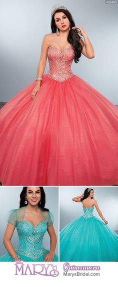 Style 4Q445: Strapless tulle quinceanera ball gown with sweetheart neck line, basque waist line, detailed bead works on bodice, lace-up back, and matching bolero. From Mary's Quinceanera Fall 2016 Princess Collection