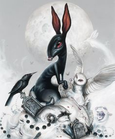 """The Elil and Fu Inle´"" - 36 x 30 in. - Acrylic on canvas, 2011 by Greg ""Craola"" Simkins SOLD The Crow, Art And Illustration, Illustration Techniques, Fantasy Kunst, Fantasy Art, Lapin Art, Art Fantaisiste, Photo D Art, Rabbit Art"