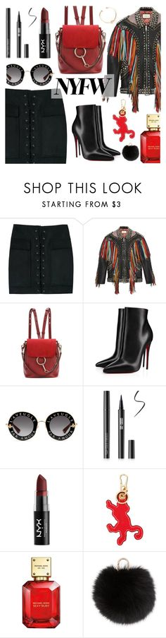 """What to Wear to NYFW"" by dora04 ❤ liked on Polyvore featuring Gucci, Chloé, Christian Louboutin, NYX, Loewe, Michael Kors and Yves Salomon"