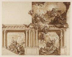 Sir James Thornhill, 'A Ceiling and Wall Decoration' circa 1715-25
