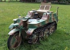 Here's something you will rarely see, a genuine WWII Kettenkrad up for sale! These motorcycle half tracks were produced by NSU in the second world war and could be carried in aircraft a… Motorcycle Tank, Battle Tank, Military Equipment, Armored Vehicles, Military Aircraft, World War Two, Military Vehicles, Wwii, Track