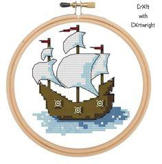 Pirate ship cross stitch pattern | Craftsy £6.43
