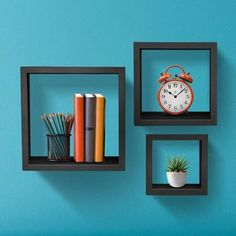 Sorbus Floating Shelves Hanging Wall Shelves Decoration Perfect Trophy Display, Photo Frames x 7 , Black) Box Shelves, Display Shelves, Wall Shelves, Shelving, Box Frames, Frames On Wall, Cubes, Square Floating Shelves, Trophy Display