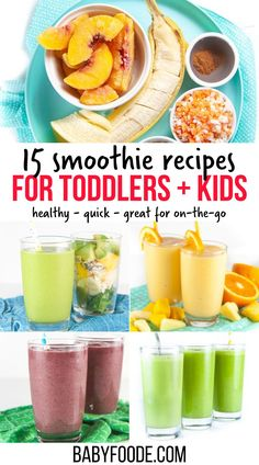 Healthy Smoothies geared for toddlers and kids are a great (and easy) way to get nutrient-dense fruits and vegetables into their diet without them really knowing it! These 15 recipes will give you a ton of inspiration for some delicious and healthy smoothie-time action in your own kitchen. Toddler Smoothies, Toddler Lunches, Toddler Food, Healthy Toddler Breakfast, Healthy Kids, Fruit Smoothie Recipes, Healthy Smoothies, Fruits And Veggies, Vegetables